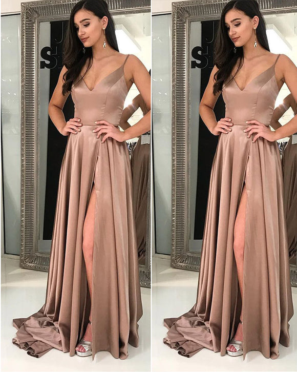 Sexy Slit Prom Dresses Long Spaghetti Straps Women Evening Party Dresses LP377