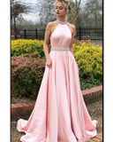 Pink Halter Beading Long A Line Formal Prom Homecoming Dress Girls Evening Party Gown
