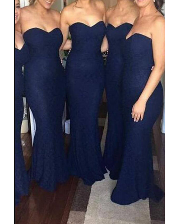Sweetheart navy Mermaid Bridesmaid Dresses Lace  Long Women Formal Wear