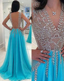 Blue Beading Luxury Prom Dresses Long Formal Gown Evening LP3332