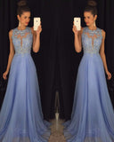 O Neck Beading Lace Lavender Prom Dress Long Women Evening Formal Gown  LP185