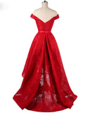 Off the Shoulder Red  Prom Dresses High Low Girls Lace Formal party Gown LP214
