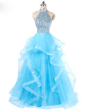 Aqua Blue Halter High Neck Princess Prom Dress Ball Gown Girls Sweet 15 anos de vestido
