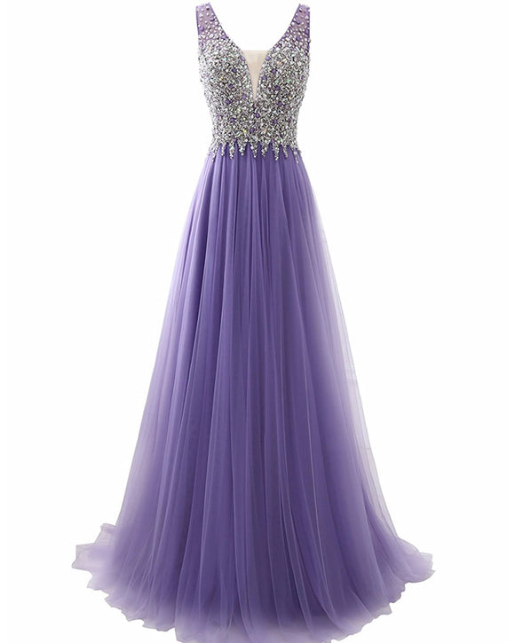 Lavender A Line Senior Prom Dresses Beading Girls Formal Party Gown LP884
