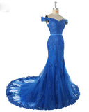 Elegant Off the Shoulder Royal Blue Lace Prom Dress fishtail Women Evening Formal Gown