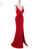Red Spaghetti Straps Fitted Evening Party Gown with Sexy Split Long Formal Gown