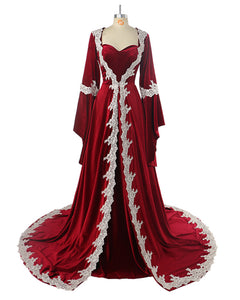 Arabic Burgundy Velvet Evening Dress Long Muslim Women Prom Formal Gown with Long Sleeves