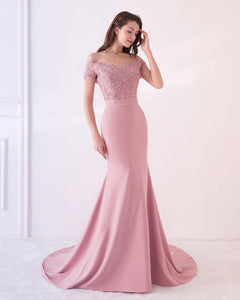 Off the Shoulder Pink Prom Dress Mermaid Long Formal Gown with Lace WL214