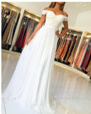 Elegant Ivory /White Lace and Chiffon Prom Party Dresses with lace Top Formal Gown