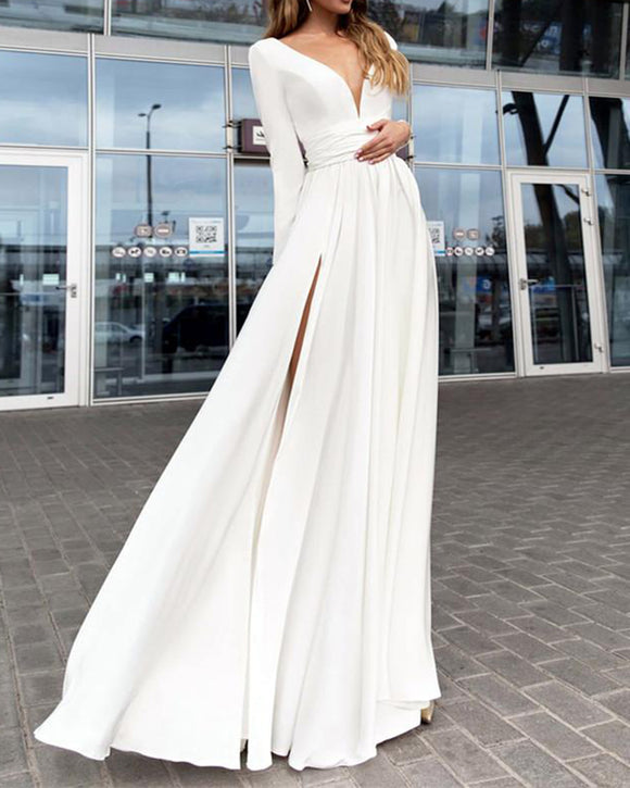 White V neck Long Sleeves Evening prom Long Dresses with Split