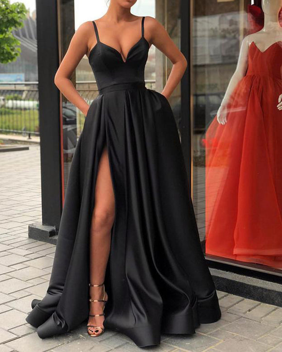 Spaghetti Straps Black Prom Gown Long Evening Party Gown with Slit Robe De Soiree