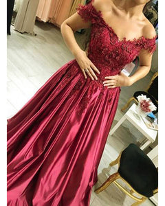 Burgundy Off the Shoulder Satin Prom Dresses with Lace Women Formal Evening Gown LP365