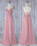 Pink Bridesmaid Dresses with Spaghetti Straps with lace Long Evening Formal Dresses LP531