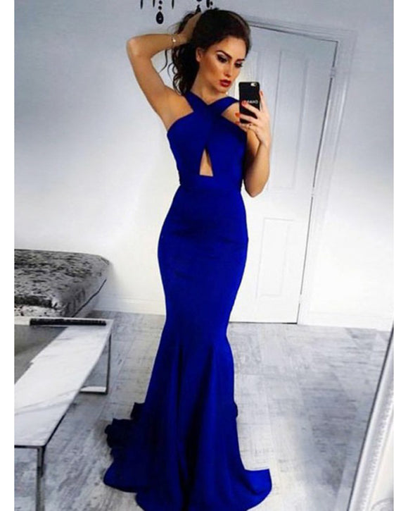 Halter Royal Blue women Fishtail  Prom Dresses Evening Long Gown LP3330