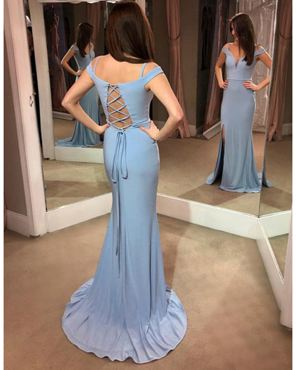 Gorgeous Light Blue Cold Shoulder Fitted Long Prom Dresses Long Evening Party Gown