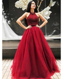 Princess Halter Prom Dresses Ball Gown Tulle Beading Formal Gown WL102