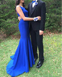 Royal Blue Mermaid Prom Dress with beading Belt Sexy Long Evening Party Gown WL035