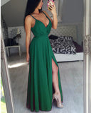 Hunter Green Prom Party Dresses with Spaghetti Straps Long Evening Gown with Sexy Slit
