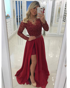 Burgundy Red Long Sleeves Lace Beaded Prom Party Dresses Girls Formal Gown