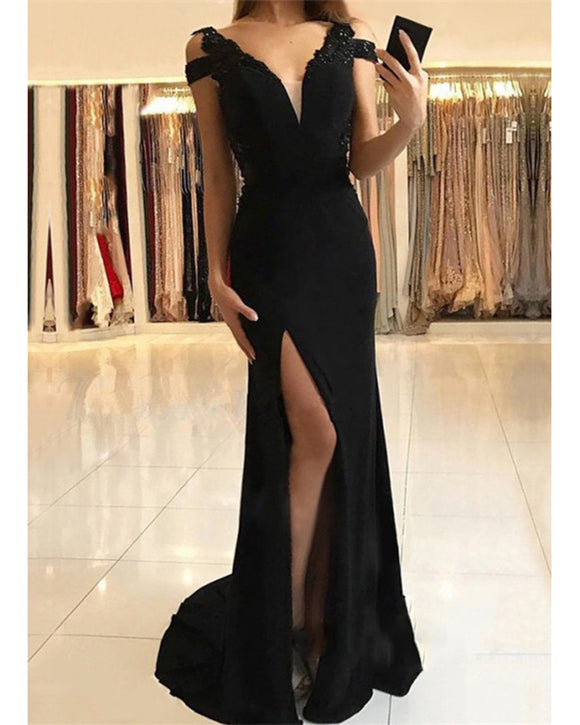Cold Shoulder Black Slit Prom Long Party Dresses Vestido De Festa Evening Gown