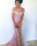 Pink Off the Shoulder Lace Fishtail Evening Gown Prom Formal Dresses