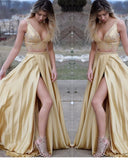 Sexy Deep V Neck Yellow Crop Top Prom Dresses With Beading Sequins Two Pieces Party Dresses Long