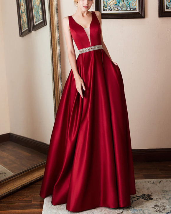 A Line Satin Wine Red Long Evening Dresses Party Prom Gown with beading Belt