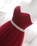 Burgundy Red Sweetheart Beading Belt Prom Gown Tulle Formal Wear WL212