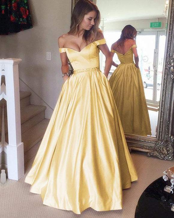 New Yellow Prom Dresses Long 2019 A Line Satin Girls Senior Graduation Formal Party Gown with Beading Belt