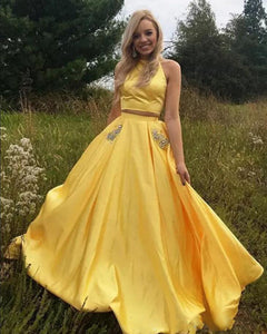 Sunshine Halter Two Pieces Yellow Prom Dress Girls Long Graduation Party Gown with Beaded Pocket