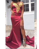 Mermaid Burgundy Prom Dress with Gold Lace Sexy Slit African Girls Evening Long Gown