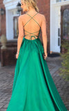 Elegant Yellow Satin Prom Gown Women Long Satin Evening Formal Gown LP654
