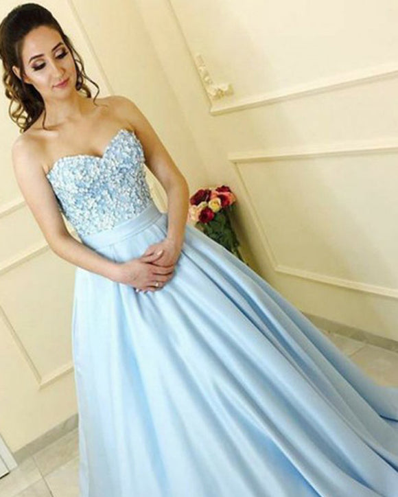 Light Blue Sweetheart Beaded Ball Gown Prom Dresses Women Engagement Wedding Gown