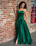 Red/ Blue/Green Halter Senior Prom Dresses Long Sexy Slit Girls Formal Evening Party Gown