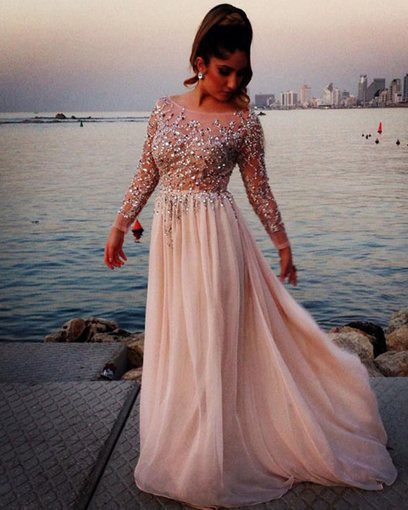 Long Sleeves Women Luxury Beading Evening Dresses Long Prom Gown Vestido De Festa