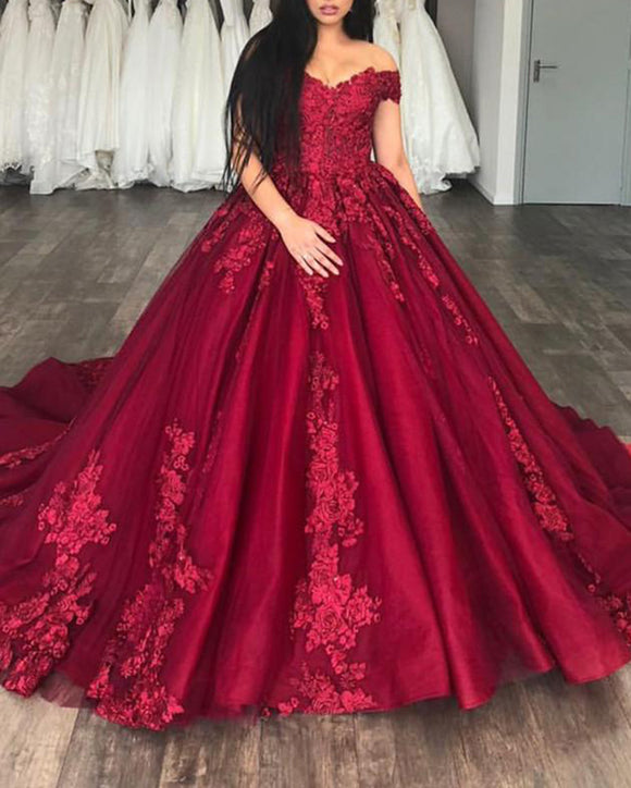 Burgundy Ball Gown Prom Dresses Reception Wedding Gown Lace Appliques off the Shoulder