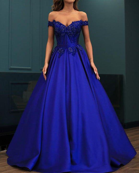 Royal Blue Satin lace Beaded Women Prom Evening Dress Engagement Formal Party Gown