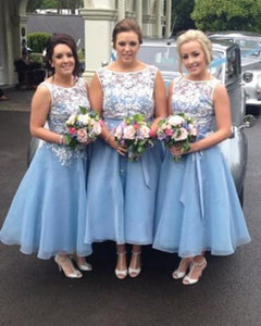 Tea Length Short Bridesmaid Dresses Blue and White Lace Women Wedding Party Gown