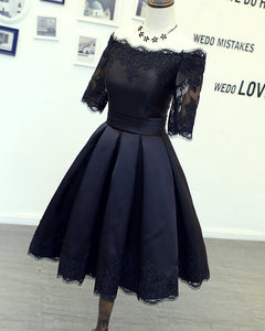 Dark Navy Homecoming Dresses Short Lace Appliqes Girls 8th Grade Graduation Dress with Sleeves