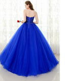 Royal Blue Sweetheart Beading Ball Gown Prom Dress Corset Formal Wear 2019