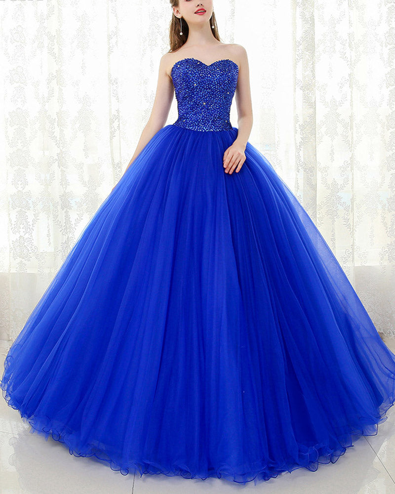 Blue Wedding Dresses 2019: Royal Blue Sweetheart Beading Ball Gown Prom Dress Corset