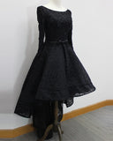 Black High Low Luxury Beading Prom Party Gown Evening Dresses with Long Sleeves