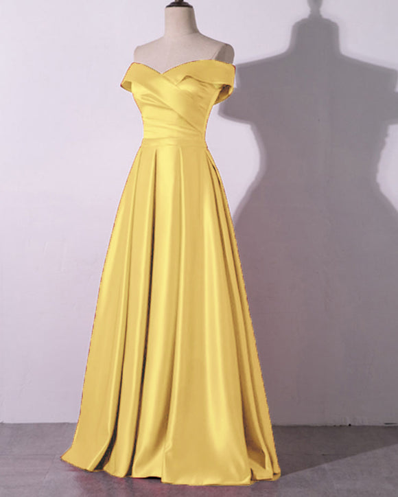 Yellow Off the Shoulder Women Formal Dresses A Line Satin Evening Prom Gown