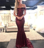 Bling Bling Sequins Burgundy Red Off the Shoulder Fitted Evening Dresses Long Prom Gown