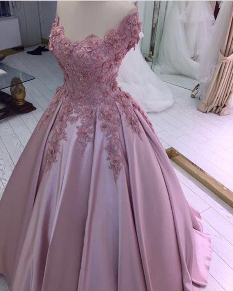 Pink Wedding Gown: Blush Pink Ball Gown Prom Dress With Lace Flowers Women