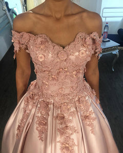 Blush Pink Ball Gown Prom Dress with Lace Flowers Women Off the Shoulder  Engagement Wedding Gown dd4479b46