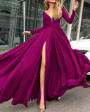 Sexy Long Sleeves Evening Party Dress with Slit Formal Gown