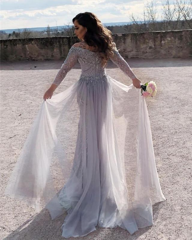 b3bffb7434 ... Elegant Lace Mermaid Prom Dresses Full Sleeves Sexy Slit Long Evening  Gown With Detachable Train Off ...
