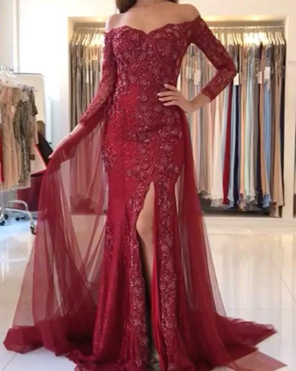 2f50c02dd300 ... Elegant Lace Mermaid Prom Dresses Full Sleeves Sexy Slit Long Evening  Gown With Detachable Train Off ...