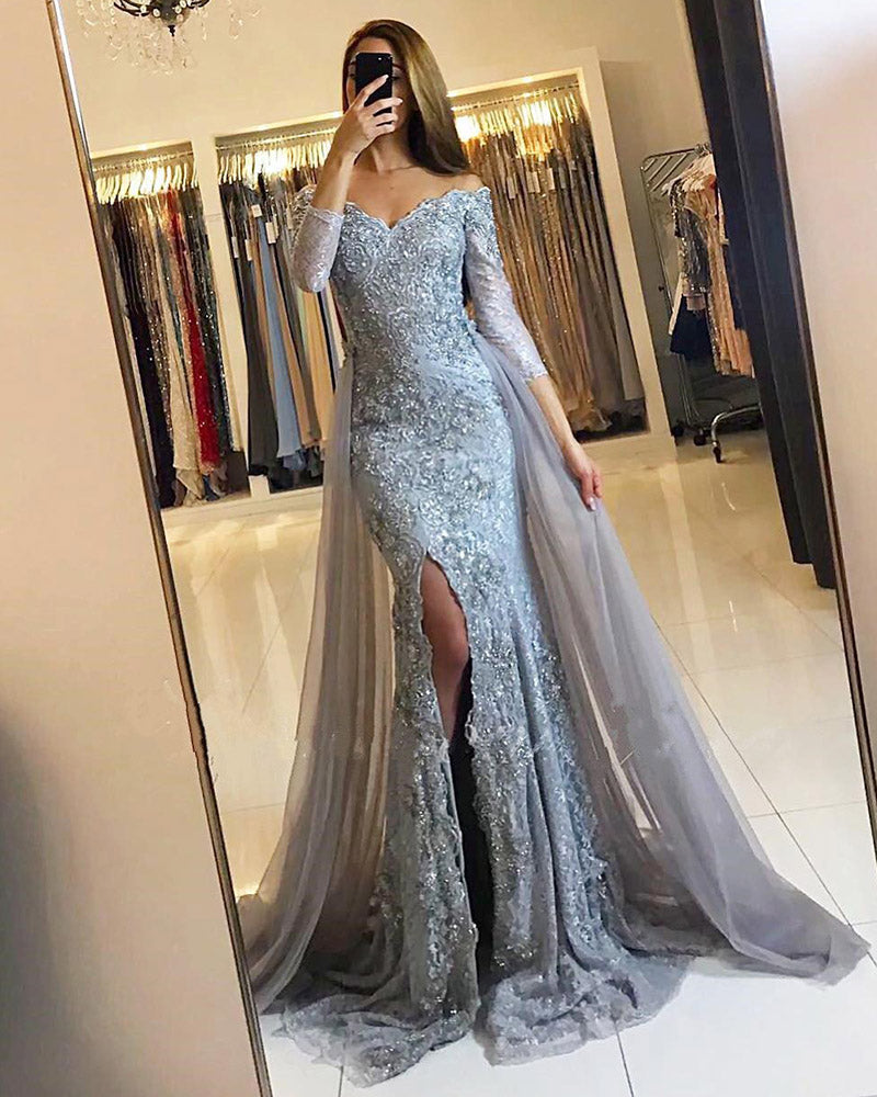 a23f3cc92ddc5 Elegant Lace Mermaid Prom Dresses Full Sleeves Sexy Slit Long Evening Gown  With Detachable Train Off ...